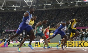 United States' Justin Gatlin, left, crosses the line to win gold ahead of silver medal winner United States' Christian Coleman, second right, and bronze medal winner Jamaica's Usain Bolt, right.