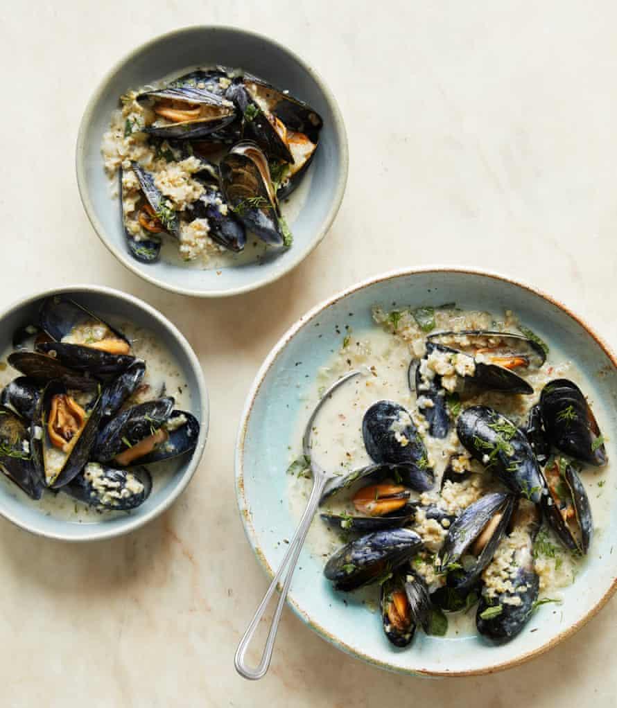 Ravinder Bhogal's mussels with kefir, bulgur wheat and soft herbs.