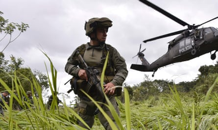 Colombian drug squad members during an operation to destroy a cocaine processing lab in a rural area of the municipality of Calamar, Guaviare department, last year.