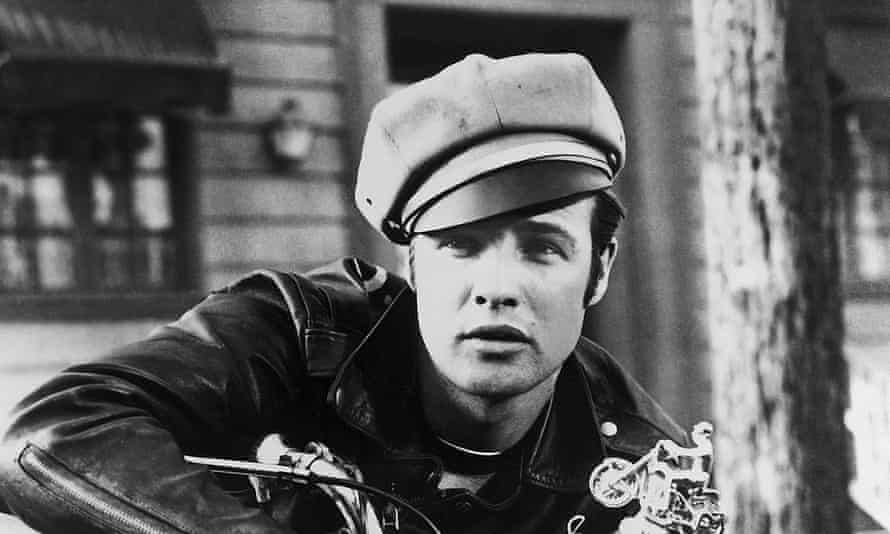 Marlon Brando wearing a peaked cap in 1953's The Wild One.