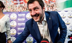 Matteo Salvini at a press conference in Milan on Monday