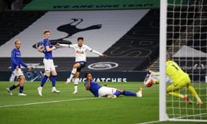 Heung-Min Son of Tottenham Hotspur shoots.