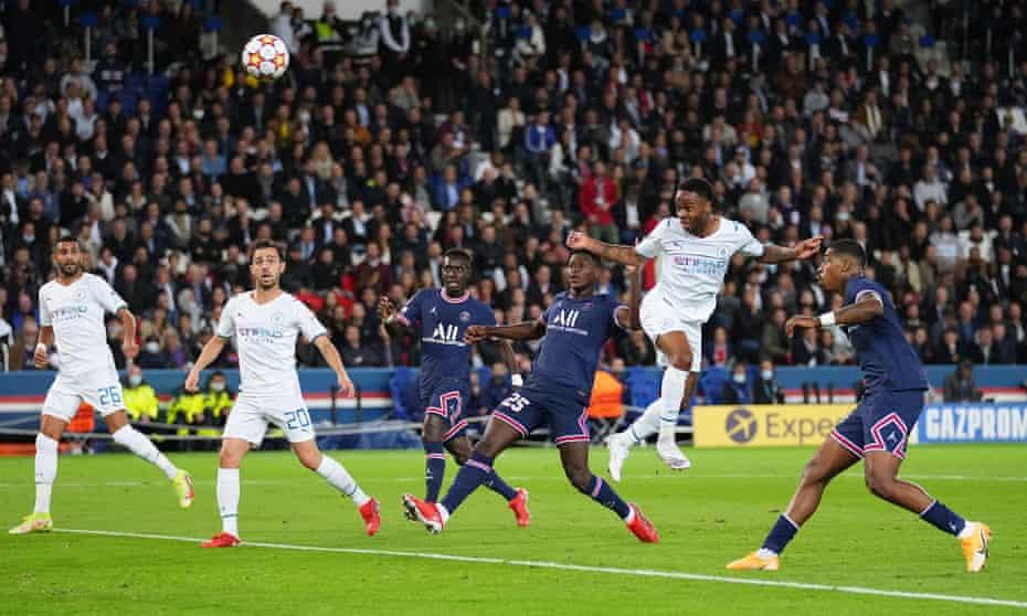 Raheem Sterling heads but fails to score during Manchester City's Champions League defeat at Paris Saint-Germain
