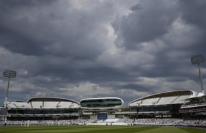 Dark clouds loom over the new Compton and Edrich Stands either side of the Media Centre.
