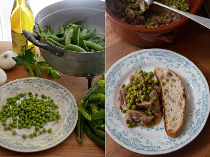 Rachel Roddy's lamb and peas – or abbacchio in spezzatino con piselli.