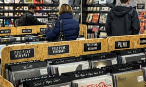 shoppers at Rough Trade Records in Nottingham seek out the new single from Albert Camus.