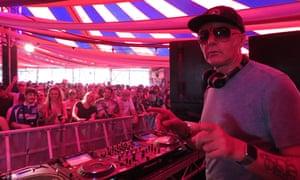 Irvine Welsh DJing at Stone Bridge bar, Glastonbury.