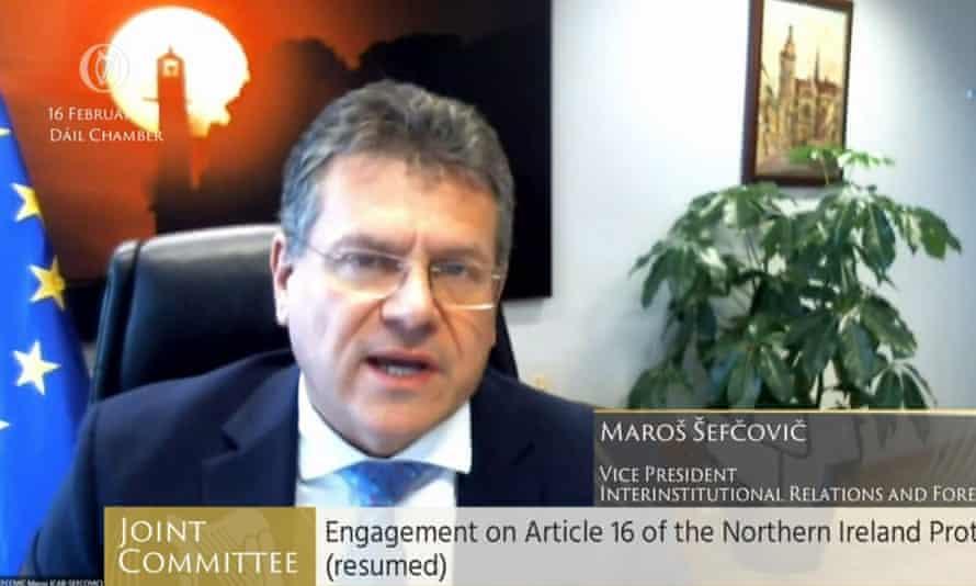 Maroš Šefčovič speaking to Ireland's European affairs committee.