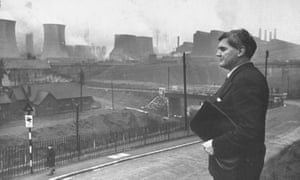 Labour politician Aneurin Bevan at Ebbw Vale steelworks in 1945