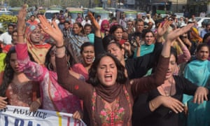 Transgender people at a rally in Lahore, Pakistan