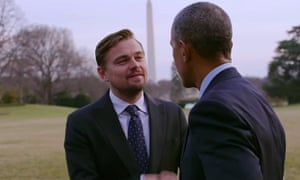 Leonardo DiCaprio with Barack Obama