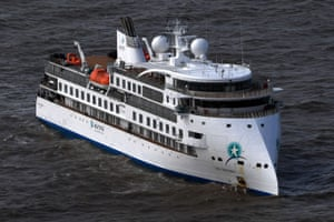 The Australian cruise ship Greg Mortimer pictured off the port of Montevideo, Uruguay, earlier this week