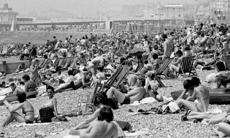 Brighton beach as temperatures soared in June 1976