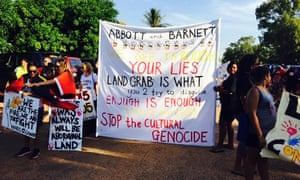 Protesters gather in Broome for a #sosblakaustralia rally on 1 May 2015 against proposed closures of remote Aboriginal communities in Western Australia.
