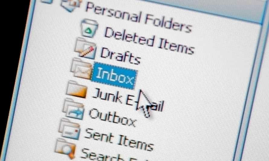 Phone screen showing an email inbox