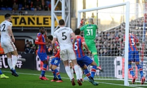 Crystal Palace's Vicente Guaita scores an own goal to give Sheffield United's the lead.