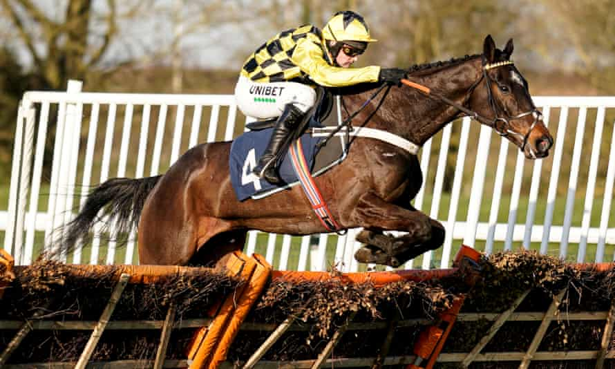 Nico de Boinville rides Shishkin clear to win the Sidney Banks Novice Hurdle at Huntingdon.