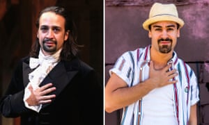 Lin-Manuel Miranda as Hamilton on Broadway (l), and Australian Ryan Gonzalez as Usnavi in the Hayes production of In The Heights.
