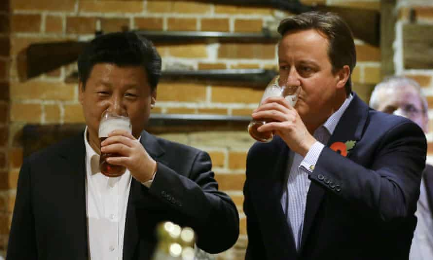 Britain's efforts to cosy up to China reached their peak with Xi's visit in 2015, when the president joined David Cameron for a pint at a pub in Buckinghamshire.