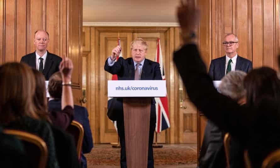 Chris Whitty, Boris Johnson and Patrick Vallance at a coronavirus press conference in London, 16 March 2020