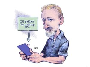cartoon of man with phone saying he'd rather make art