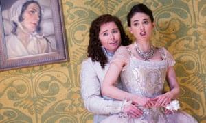 Tara Erraught as Octavian and Teodora Gheorghiu in Sophie in Der Rosenkavalier, Glyndebourne, 2014.