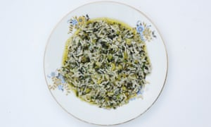Runny rice with grelos (turnip tops)