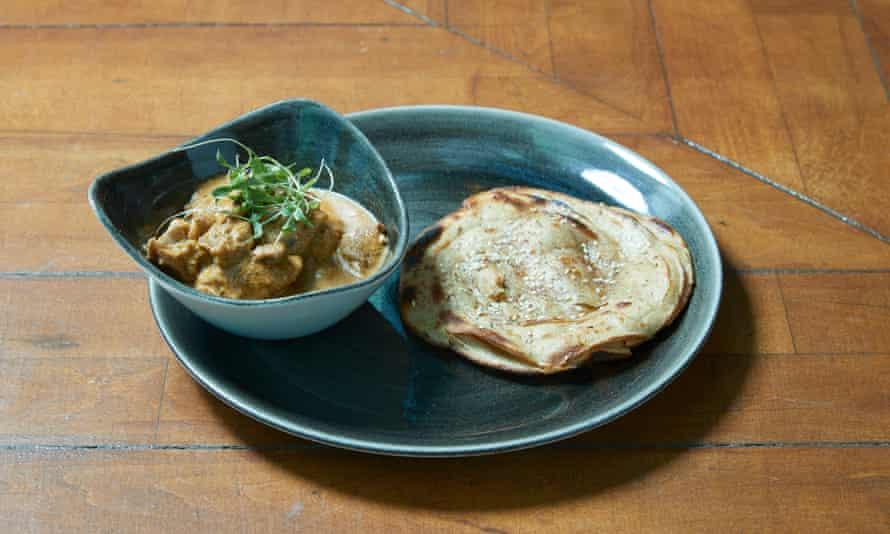 'Ripely sauced, butter-rich curry': chicken ghee roast.