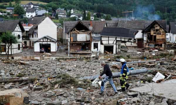 Debris following heavy rainfalls in Schuld, Germany