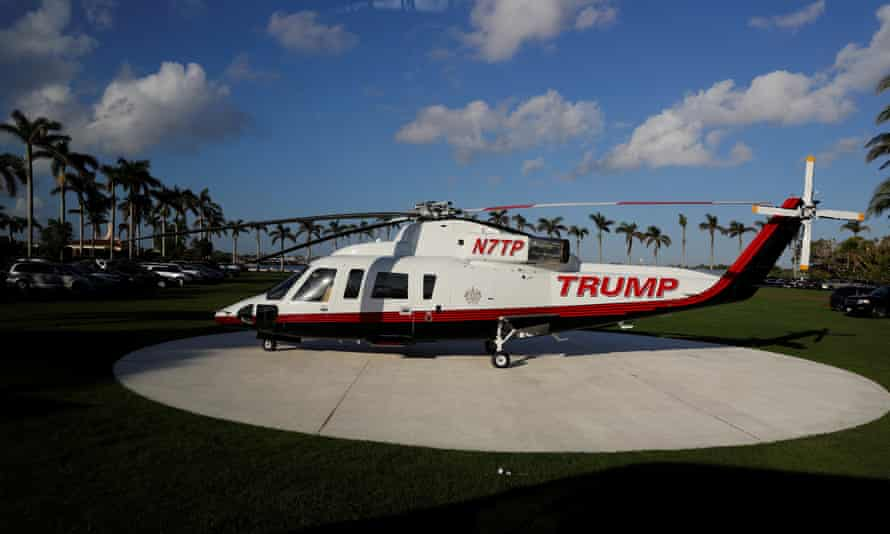 Donald Trump's corporate helicopter ready and waiting at Mar-a-Lago.