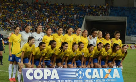 The Brazilian squad poses for a team photo after winning the  International Women's Football Tournament