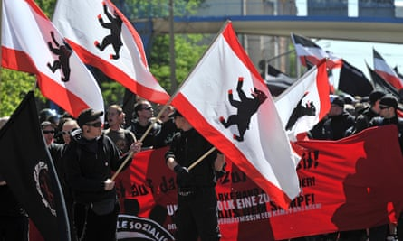 Hundreds of neo-Nazis demonstrate in Halle, Germany, in May 2011.