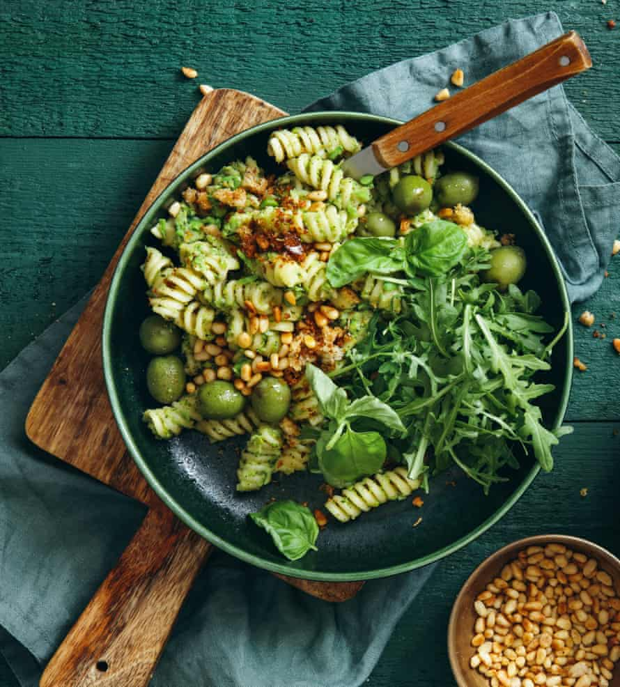 Pasta salad, but not as we know it: with broccoli pesto, peas, rocket, olives, pine nuts and breadcrumbs.