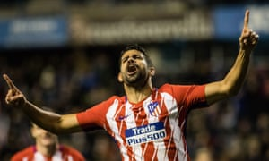 Diego Costa celebrates his first goal on his second debut for Atlético Madrid in the 4-0 win over Lleida Esportiu.