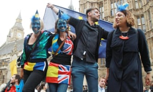 Young people protest about Brexit outside Westminster