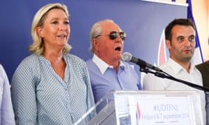 Marine Le Pen, Jean-Marie Le Pen and Florian Philippot at the Front National summer youth congress, in 2014.