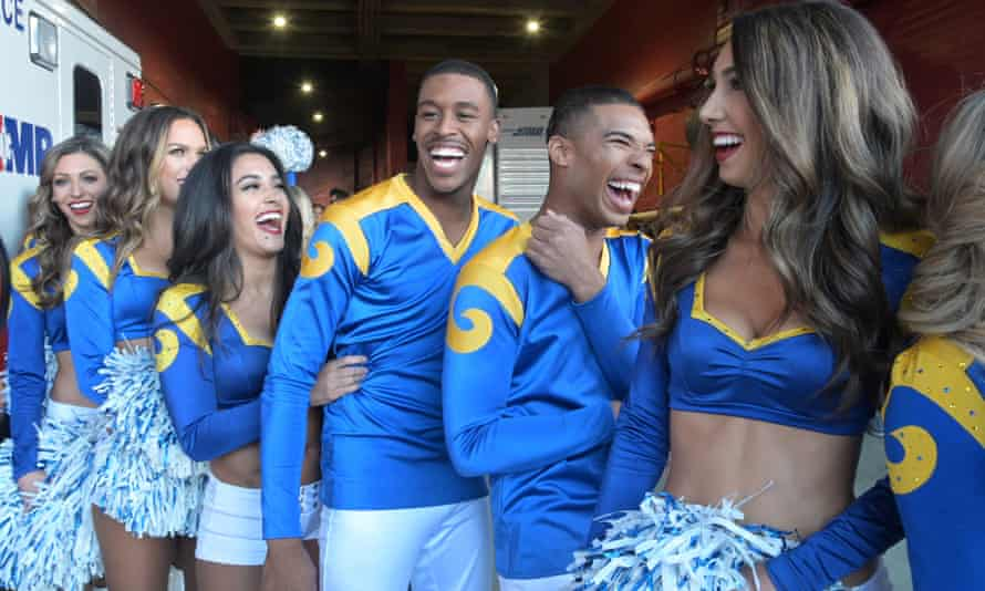 Quinton Peron and Napolean Jinnies, both professional dancers, will make history by being the first male cheerleaders to perform at a Super Bowl.