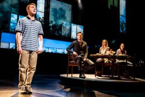 Sam Tutty, left, in the title role of Evan Hansen, with Rupert Young, Lauren Ward and Lucy Murphy.