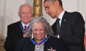 Barack Obama presents the Presidential Medal of Freedom to Toni Morrison in 2012.