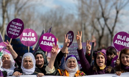 A protest in Istanbul in support of Leyla Güven who is on hunger against the isolation of jailed PKK leader Abdullah Öcalan