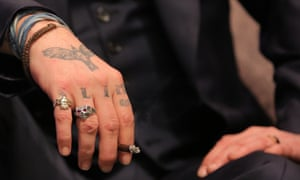 Slim tattoo … Depp at a California film festival in 2016.