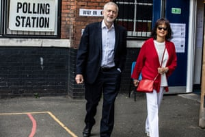 Jeremy Corbyn and his wife, Laura Alvarez, leaving the polling station at Pakeman primary school in Holloway, London.