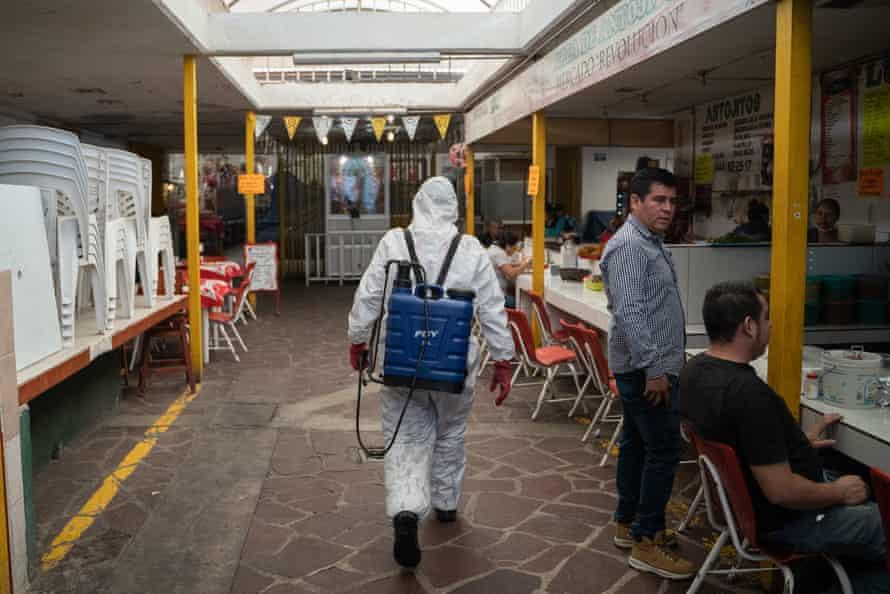San Luis Potosí council workers sanitising the streets, 16 April 2020