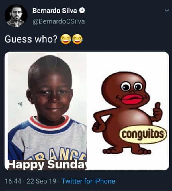 The tweet sent by Manchester City's Bernardo Silva.