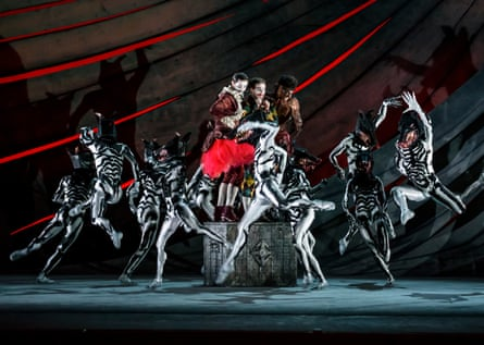 Valentin Olovyannikov as Stephano, James Barton as Trinculo and Tyrone Singleton as Caliban, with dancers of Birmingham Royal Ballet