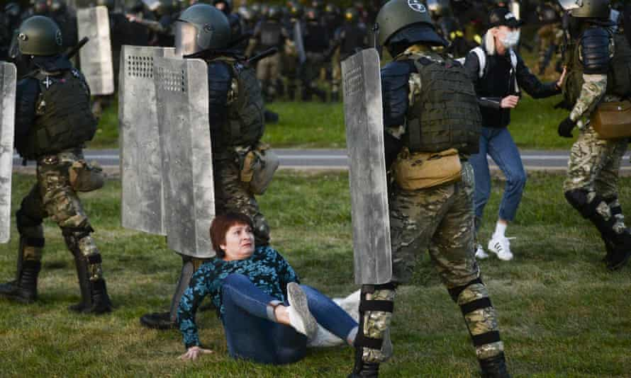 Police clash with protesters in Minsk after Alexander Lukashenko was sworn in for a sixth term. Activists said 150 people were arrested.