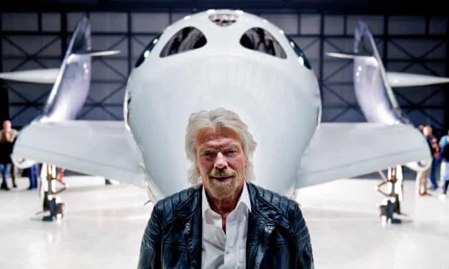 Richard Branson with his new spaceship
