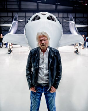 Richard Branson with one of Virgin Galactic's spacecraft.