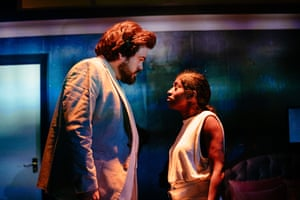 Tom Penn and Nadia Nadarajah in Midnight Movie at the Royal Court.