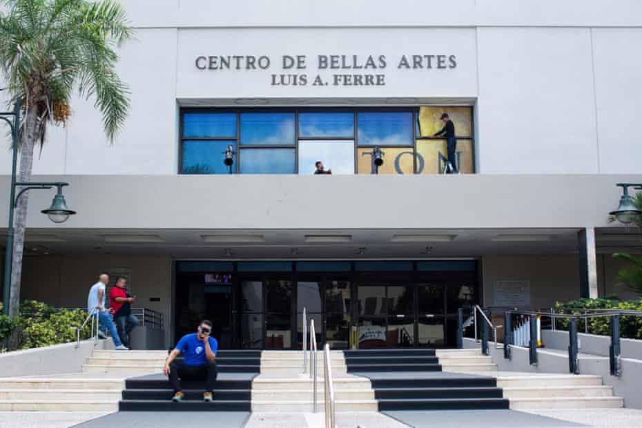 Workers prepare the venue for the opening of Hamilton at the Centro de Bellas Artes in San Juan.
